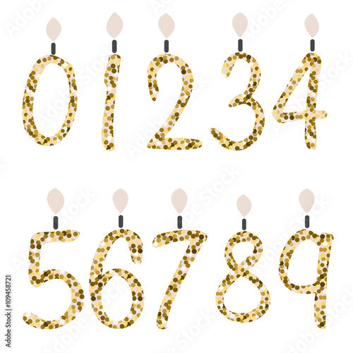Birthday Candles Celebration Number Gold Glitter Girly Fashion Glam Digits For Party