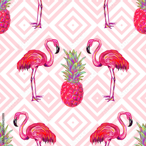 Tablou Canvas Seamless summer tropical pattern with flamingo and pineapple vector background