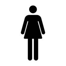 Female Or Women's Bathroom / Resroom Sign Flat Icon For Apps And Websites