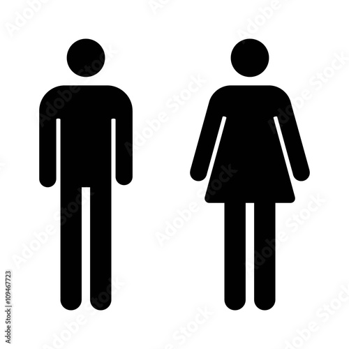 Male and female bathroom / restroom sign flat icon for apps and websites Wall mural