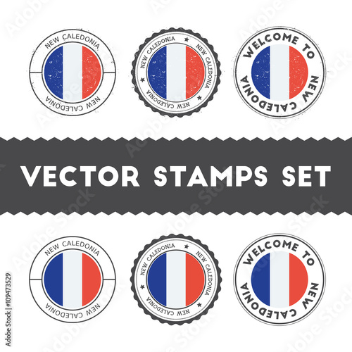 Fotografie, Obraz  New Caledonian flag rubber stamps set