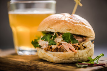 serving pub food, pork bap with cider