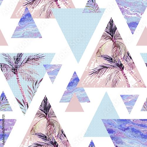 Abstract summer geometric seamless pattern Wallpaper Mural