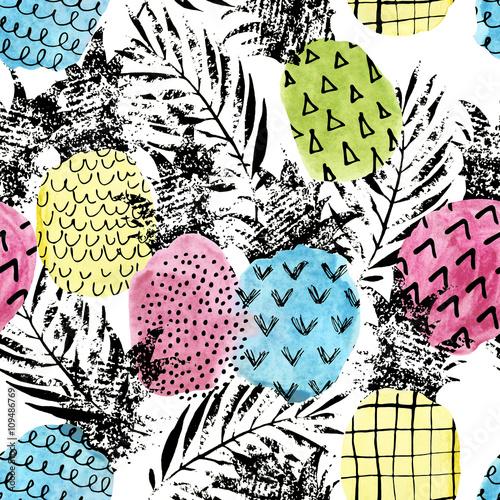 Kolorowy ananas z akwarela i grunge tekstury wzór