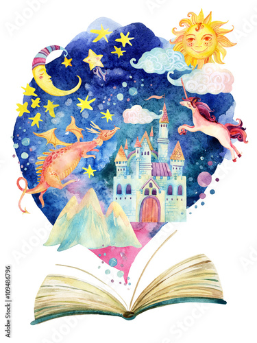 Watercolor open book with magic cloud.
