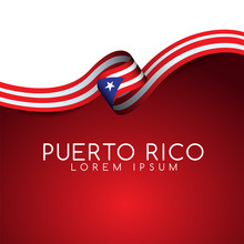 Puerto Rico Flag Ribbon : Vector Illustration