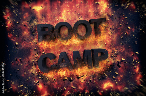 Fotografie, Obraz  Burning flames and explosive sparks - BOOT CAMP