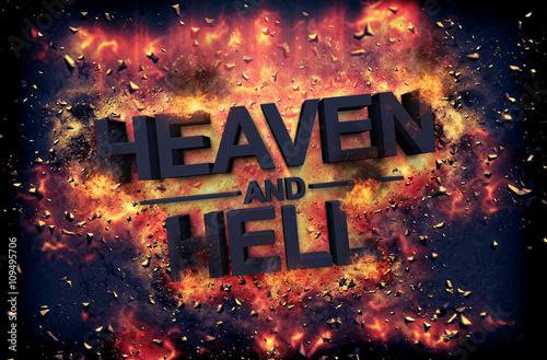 Fotografie, Obraz  Embers surrounding the word heaven and health