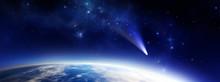Blauer Planet Mit Komet