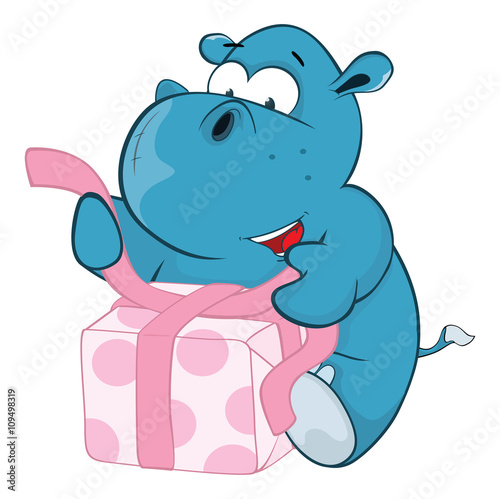 Poster de jardin Zoo Illustration of a Cute Hippo. Cartoon Character