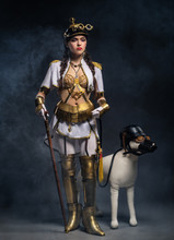 Portrait Of A Beautiful Steampunk Girl With Walking Stick And Do