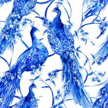 Blue Watercolor Flower Vintage...