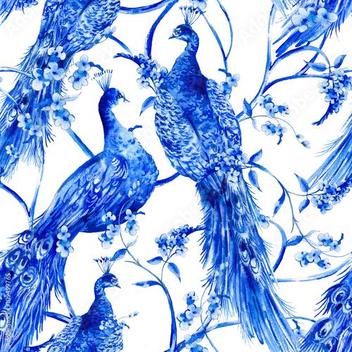Leinwandbilder - Blue watercolor flower vintage seamless pattern with peacocks
