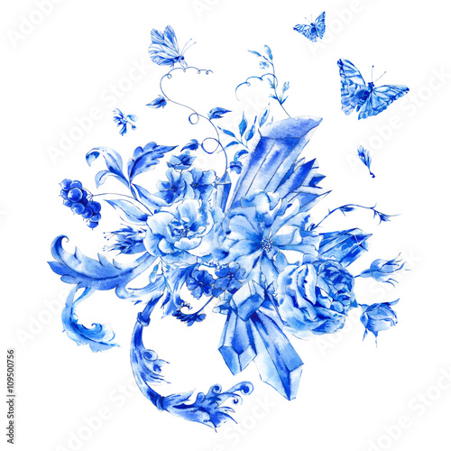 Fototapety, obrazy: Vintage hand painted blue watercolor roses, precious crystals an