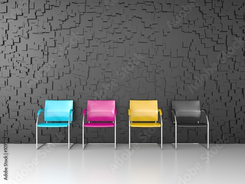 Fotografía  3D render of CMYK colored chairs in the print shop waiting room