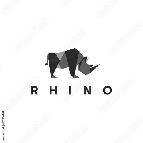 Fotografija  Polygons rhino low poly animal logo illustration, modern style