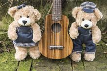 Couple Teddy Bears With Ukulel...