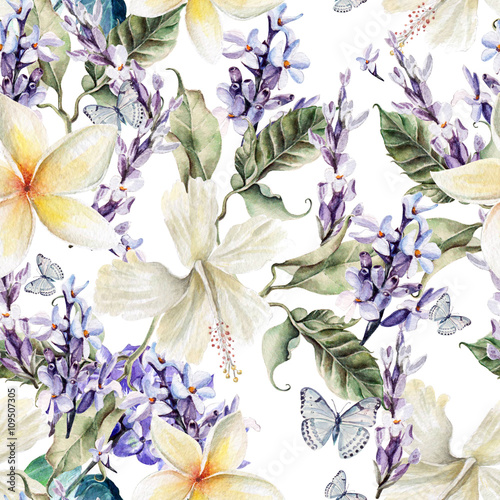 Carta da parati Watercolor seamless pattern with hibiscus  flowers and lavender.