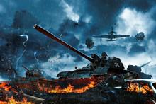 Three Tanks Under Fire From En...