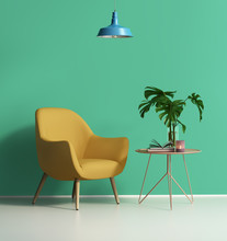 Yellow Armchair Over A Green W...