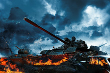 Three Tanks In A Burning Field