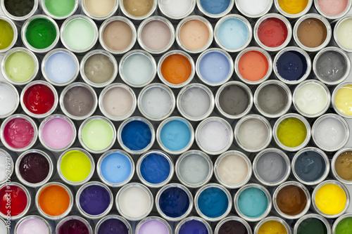 Paint tin samples, multicoloured.
