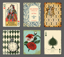 Alice In Wonderland Cards - Set Of Cards Illustrating Famous Novel By Lewis Carroll, Including Queen Of Hearts, White Roses Painted Red, White Rabbit's Clock, Book Title Page And Keyhole Wall