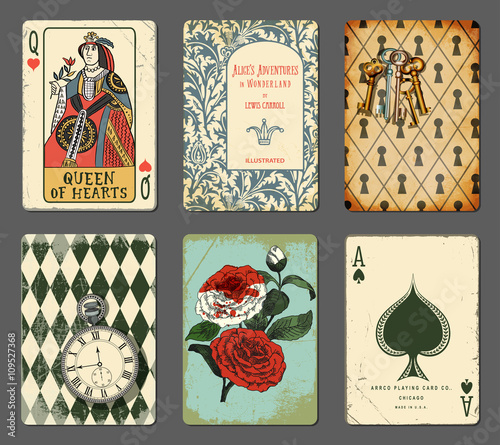 Alice in Wonderland Cards - Set of cards illustrating famous novel by Lewis Carr Canvas Print