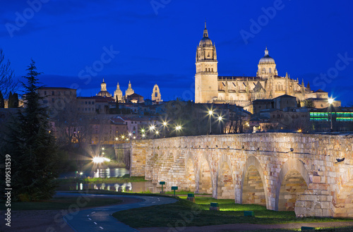 SALAMANCA, SPAIN, APRIL - 17, 2016: The Cathedral and bridge Puente Romano over the Rio Tormes river at dusk.