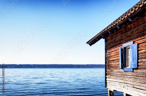 old wooden boathouse Fotobehang