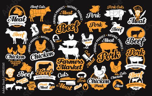 Fotografía  vector set of butchery labels, logos, icons, design elements