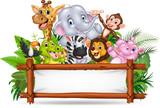 Fototapeta Fototapety na ścianę do pokoju dziecięcego - African animals with blank sign