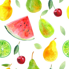 FototapetaSeamless pattern with fruit.Watermelon lemon lime pears and cherry.Food picture.Watercolor hand drawn illustration.