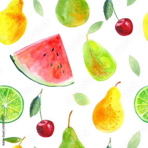 Seamless pattern with fruit.Watermelon lemon lime pears and cherry.Food picture.Watercolor hand drawn illustration.