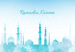 Ramadan Kareem greeting background mosque watercolor illustration with arabic town