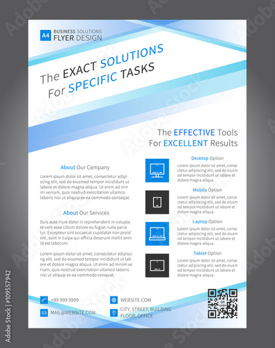 business leaflet layout vector design a4 size page with sample text icons corporate