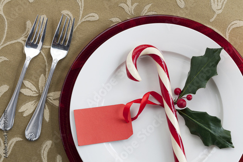 Fotomural place setting with candy cane and blank tag.
