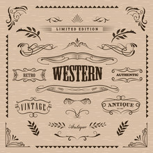 Western Frame Hand Drawn Banners Vintage Badge Vector