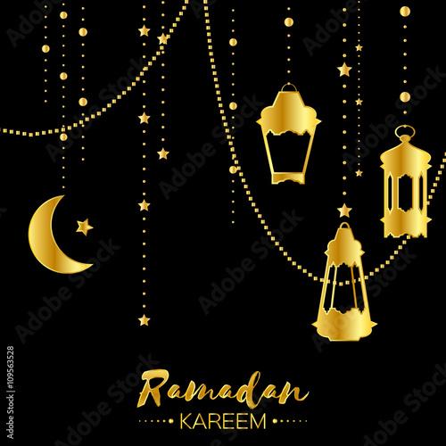 Gold Ramadan Kareem Celebration Greeting Card Hanging Arabic Lamps