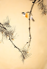 Naklejka Chinese ink painting bird and plant