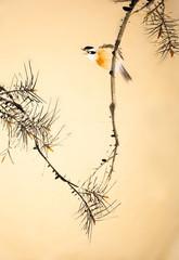 Fototapeta samoprzylepna Chinese ink painting bird and plant