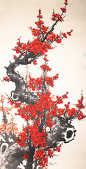 Fototapeta Orientalny Chinese watercolor cherry painting