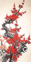 FototapetaChinese watercolor cherry painting