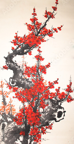 Chinese watercolor cherry painting - 109571190
