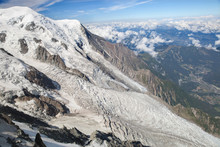 The Mont Blanc And Upper Part Of Bossons Glacier In Chamonix Valley, France