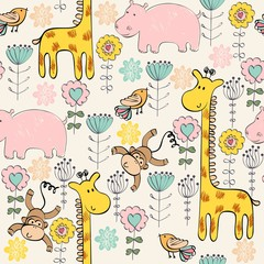 Fototapetahand draw seamless pattern with giraffe and monkey.