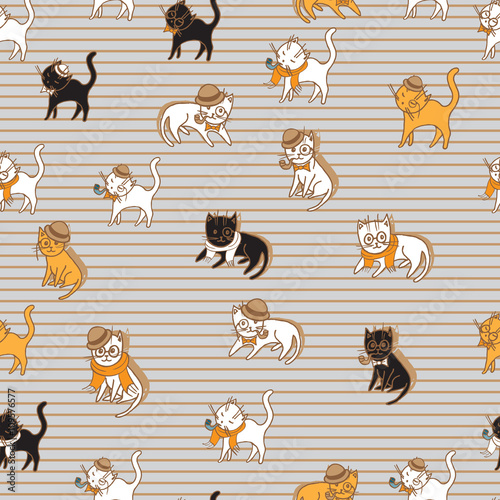 Cotton fabric colorful cats seamless pattern. pets vector illustration for kids design