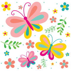 Obraz Spring butterfly and flowers pattern backgrounds