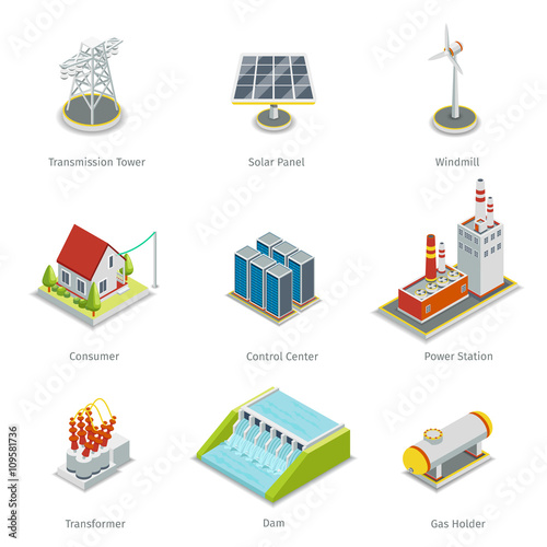 Fotografía  Smart grid elements. Power items vector set