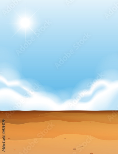 Photographie  Scene with desert and blue sky